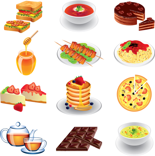 Fast food icons set vector graphics 02
