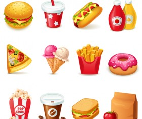 Fast food icons set vector graphics 03