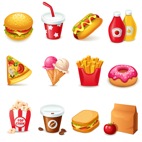 fast food icons set vector graphics 03 free download