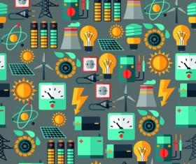 Flat electricity elements vector 01