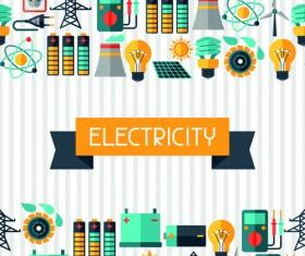 Flat electricity elements vector 02