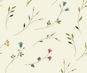 Flowers branches vector seamless pattern