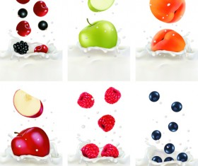 Fruits with milk vertical banner vector set 01