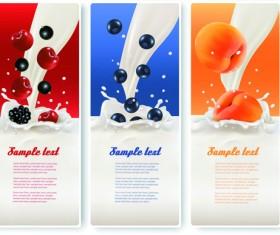Fruits with milk vertical banner vector set 02