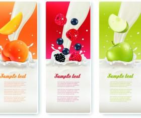 Fruits with milk vertical banner vector set 03