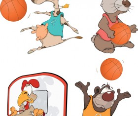 Funny animals with basketball vector 01