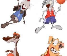 Funny animals with basketball vector 02