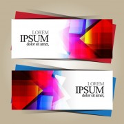 Link toGeometric shapes colored business cards vector