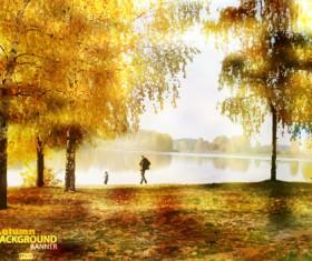 Golden autumn scenery vector background art 01