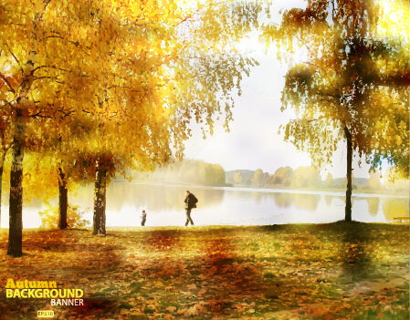 Golden autumn scenery vector background art 01