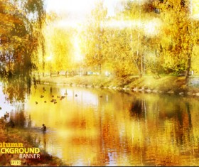 Golden autumn scenery vector background art 02