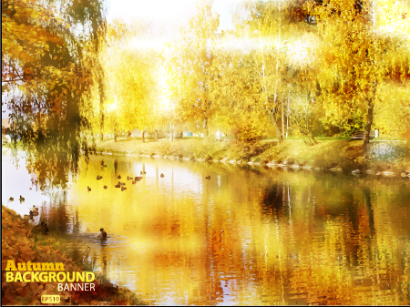 Golden autumn scenery vector background art 02
