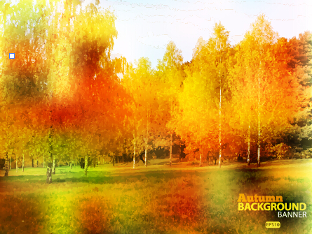 Golden autumn scenery vector background art 03