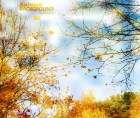 Golden autumn scenery vector background art 04