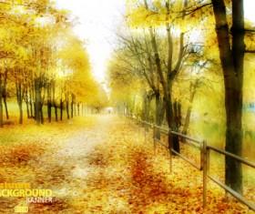 Golden autumn scenery vector background art 05