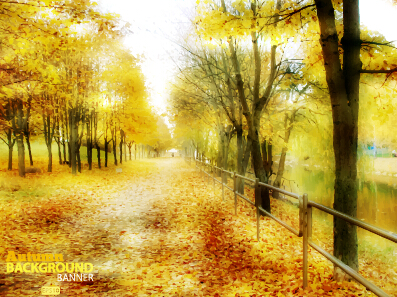 Golden autumn scenery vector background art 05