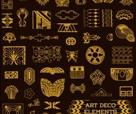 Golden deco elements art vector materoal 02