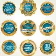 Link toGolden luxury commercial labels with badges vector 03