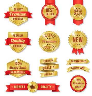 Golden premium quality labels with red ribbon vector 01 - Vector Label ...