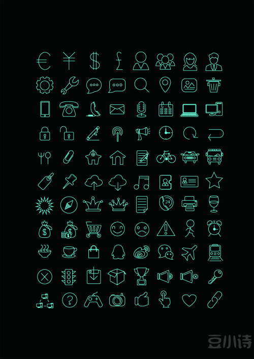 Green line life icons material