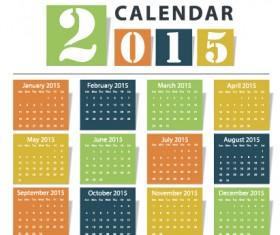Grid calendar 2015 vector design 02