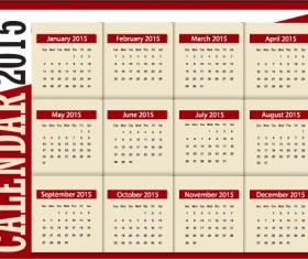 Grid calendar 2015 vector design 03