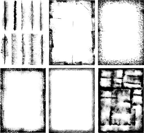 Grunge black frame vector material set 01