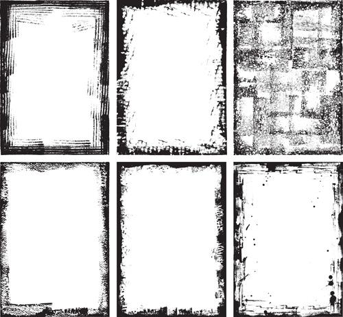 Grunge black frame vector material set 02