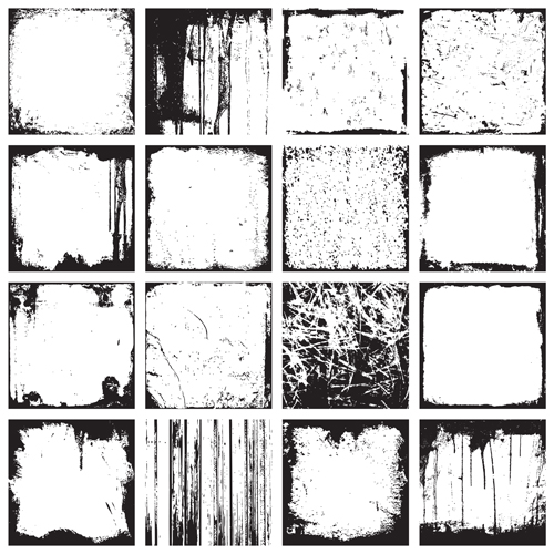 Grunge black frame vector material set 03