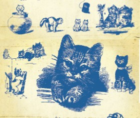 Hand drawing vintage kittens vector material