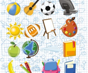 Hand drawn children pattern with school elements vector 02