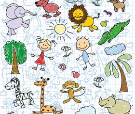 Hand drawn children pattern with school elements vector 04