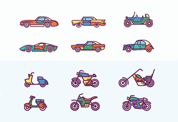Hand drawn motorcycles and cars icons