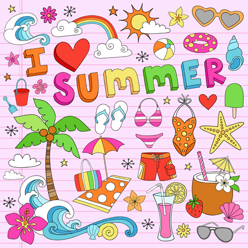 Hand drawn summer sun beach vector material 01