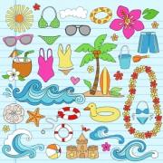Link toHand drawn summer sun beach vector material 02