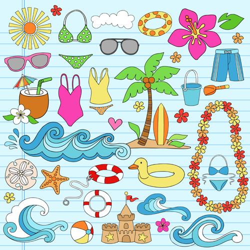 Hand drawn summer sun beach vector material 02
