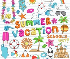 Hand drawn summer sun beach vector material 03