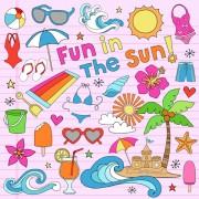 Link toHand drawn summer sun beach vector material 04