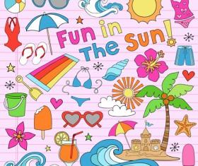 Hand drawn summer sun beach vector material 04