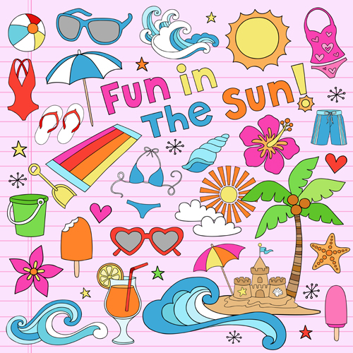 Hand drawn summer sun beach vector material 04