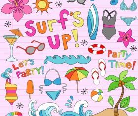 Hand drawn summer sun beach vector material 05