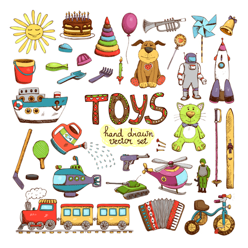 Hand drawn toys elements vector 03