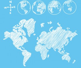 Hand drawn world maps creative vector