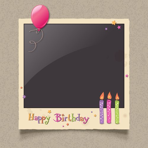 Happy birthday photo frame background vector free download