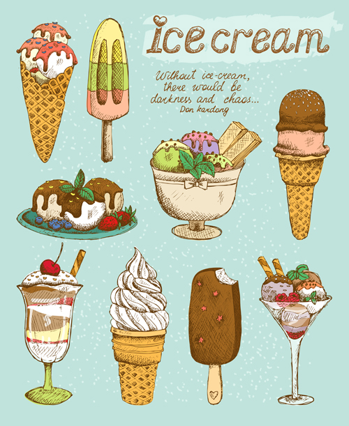 Ice cream retro style icons vector