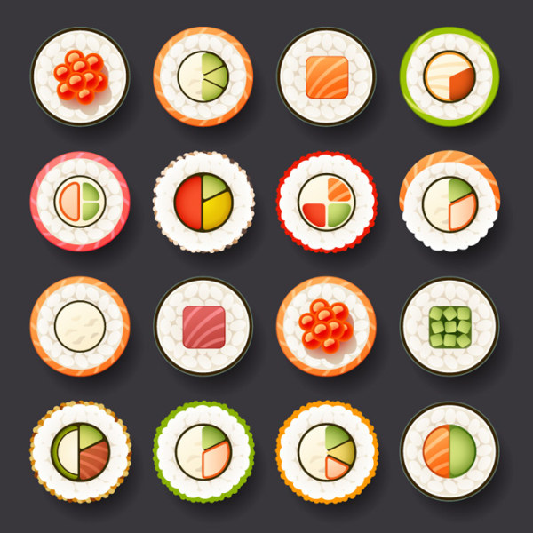 Japan sushi design vector icons