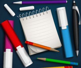 Marker pencils pen and notebook vector material