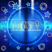 Music disco party flyer design vector material 05