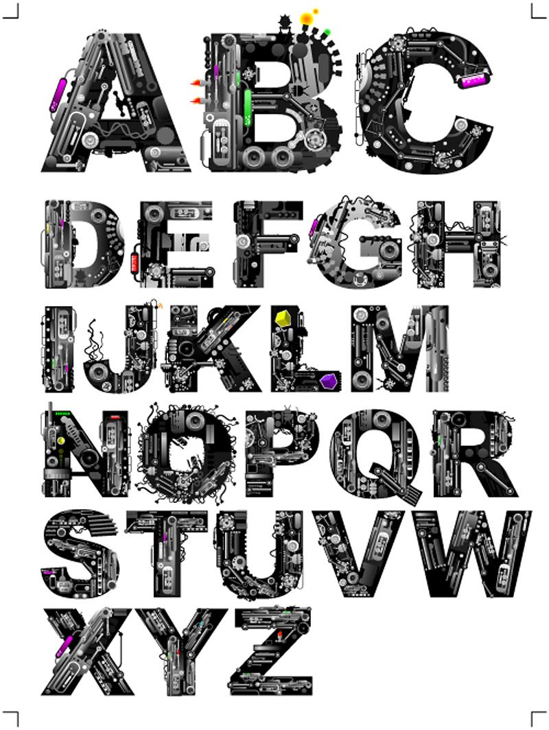 Music elements alphabet vector