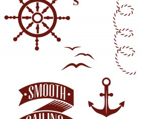 Nautical label with elements vector material